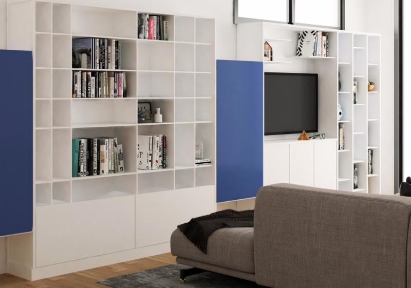 Etagère murale bibliothèque blanche et bleue